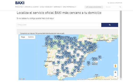 mapa servicio técnico oficial baxi roca España